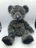 Russ Berrie Deegan Grey Black Teddy Bear Bow Tie Plush Soft Stuffed Toy Animal