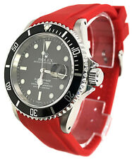 Rubber Dive Strap For Rolex Submariner Red 20mm Curved End Band USA Seller