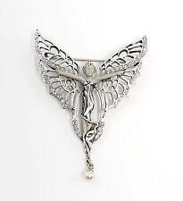 925er Silber Jugendstil Brosche Schmetterling-Frau mit Swarovski-Steinen 9901567