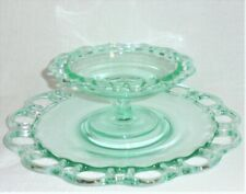 """Vintage 10.5"""" ELEGANT Green Glass RELISH TRAY/DISH & FOOTED COMPOTE DIP BOWL"""