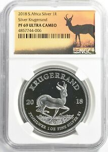 South Africa 2018 Silver Krugerrand NGC Proof-69 UC