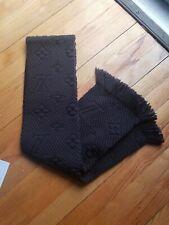 Louis Vuitton Black Noir Logomania Scarf In Wool & Silk EUC