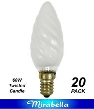 20 x 60W Twisted Candle Light Globes Bulb Small Screw E14 Pearl SES Incandescent