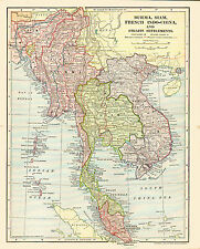 1902 Map of BURMA, SIAM, FRENCH INDO-CHINA & the STRAITS SETTLEMENTS