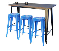 Replica Tolix Bar Table 152 x 60 x 107cm, Wood Top – 4 Colour choices for base