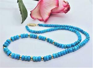 SLEEPING BEAUTY TURQUOISE RONDELLE BEADS 14K GOLD NECKLACE NATURAL UNTREATED