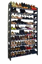 50 Pair 10 Tier Plastic Space Saving Storage Organizer Standing Shoe Tower Rack