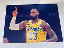 LEBRON JAMES AUTOGRAPHED SIGNED LOS ANGELES LAKERS 8 1/2 x12 Approx Photo COA