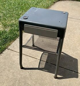 Vintage Industrial Metal Table Dictaphone Cart w/Drawer Office Atomic Machine