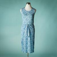 Rebecca Taylor Small Size S Dress Shibori Linen Wrap Midi Long Geometric Print