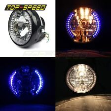 """7"""" Blue 26 LED H4 Halogen Halo Headlight Lamp Indicator For Yamaha YBR125 02-13"""