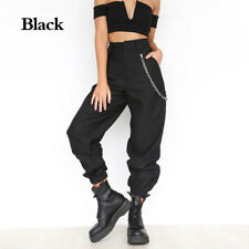 Women's Harem Cargo Trousers Cotton Pants Solid Punk Loose Long Sports