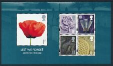 2008 GB LEST WE FORGET ARMISTICE ANNIVERSARY MINI SHEET FINE MINT MNH SGMS2886