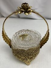 Lead Crystal West Germany Glass Coasters Set Hollywood Regency Brass Holder Mcm