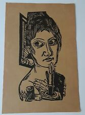 """Antique Max Beckmann Woodcut/Screen Print  """"Woman With Candle"""""""