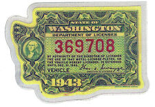 1943 WASHINGTON Registration WINDSHIELD 'VEHICLE' Sticker Decal tab/tag - New