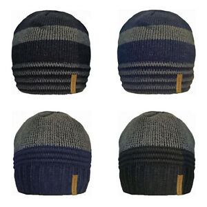 Mens 2 Tones Knitted Lined Beanie Hat Fleeced Insulated Skull Ski Wooly Warm Cap