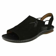 Ladies Clarks Slip on Flat Casual Sandals Sarla Cadence Black Nubuck UK 6 D