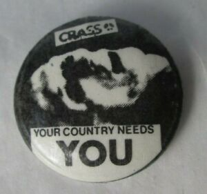 Crass Vintage Original Early 1980s 25mm Badge Pin Button Anarcho Punk