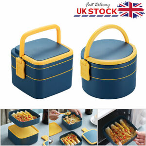 2 Layer Lunch Box Compact Heating Food Warmer Travel Thermal Two Tier Food Box