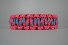 550 Paracord Survival Bracelet Cobra Pink/Cotton Candy Camping Military Tactical