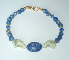 Designer Beaded Bracelet wCzech Glass Greyhound Beads, Magnasite, Swarovski