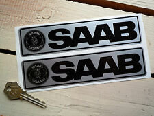 "SAAB Black & Silver Stickers 7"" Pair Race Rally TURBO 99 Ericsson Viggen 9-5 900"
