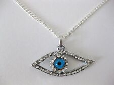 Hamsa Judaica Necklace Pendant Kabbalah Evil Eye Hand Of Fatima Silver Stones