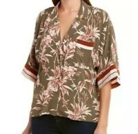 NWT $248 JOIE Bayley Floral Tropical Print Button Blouse Top Contrast Stripe S