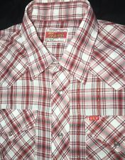 Ely Plains Sz. 16 Western Pearl Snap Men's Shirt Long Sleeve Red Plaid Vintage