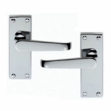 5 Sets /Pair Brushed Satin Chrome Victorian Straight Lever Latch Door Handle NEW