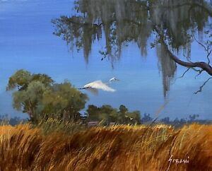 Florida Prairie And Egret Landscape Painting. Original By Karim Gebahi