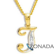 J INITIAL Diamond 9ct 9k Solid Yellow Gold Pendant 61396/J