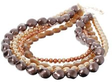 £120 Gold Brown Freshwater Pearl Faceted Glass Multi 4 Strand Statement Necklace