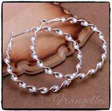 925 Sterling Silver 5cm Large Twisted Hoop Waves Earrings Snap Closure Gift