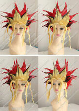 Yugioh Spiel Muto COS Wig Short Red Black Yellow Mix Cosplay Party Halloween Wig