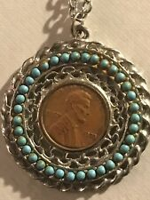 """1973 Penny Coin Round Pendant Turquoise Color Beads Silvertone Necklace 24"""""""