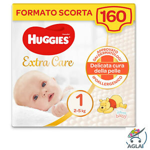 Huggies Extra Care Bebè Taglia 1, 2-5 Kg, 160 Pannolini Formato Scorta