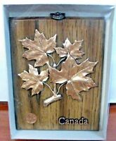 Vintage Copper Canada Wooden Wall Art Plaque Retro Maple Leaf Wall Hanging
