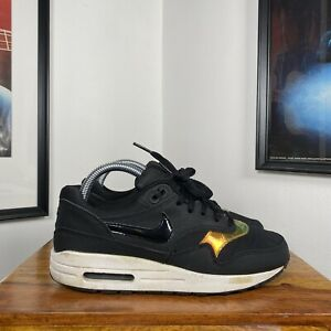 Womens NIKE AIR MAX 1 GS Gym Running Trainers - Black/Iridescent - US5.5Y/UK5/38