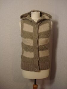 Fat Face grey/beige & natural wool mix hooded gilet 10-12
