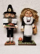 BRN Pioneer Pilgrim Lady & Husband Thanksgiving Vintage Carved Nutcracker set