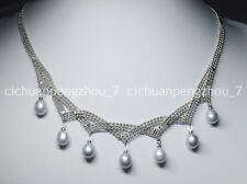 """Charming! 7-8mm Natural Silver Akoya Cultured Pearl Pendant Necklaces 18"""""""