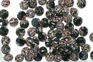 #440 11MM ROUND GLASS BROWN MOSAIC FACETED BACK STONES VINTAGE WEST GERMAN 12PC