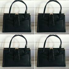Vintage 1960's Black Faux Leather Top Handle Handbag.