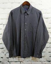 Ralph Lauren Purple Label Mens Black Button Down Shirt Black Plaid Checks XL