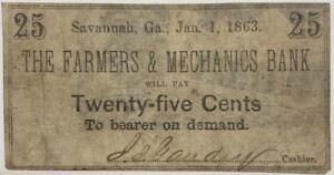 1863 Farmers & Mechanics Bank 25 Cent Note Savannah Georgia VG Currency