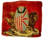 RARE 1910's USA & Great Britain, Eagle/Lion Split Crest Tapestry w/Weighted Crns