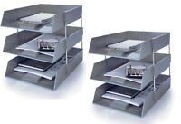 3 Trays//2 Riser Sets Including Risers. 5 Star Blue A4 Plastic Letter File Trays