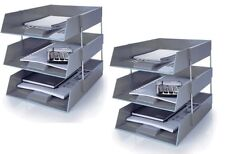 6 GREY A4 Letter Filing In Out Desk Trays + 4 Risers Stacking Paper Office